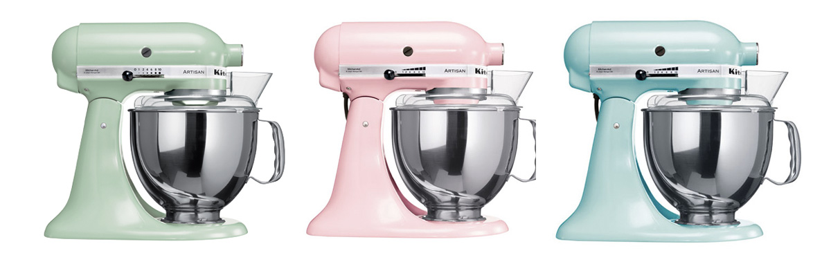Robot Kitchen Aid pastel rose, bleu et mint
