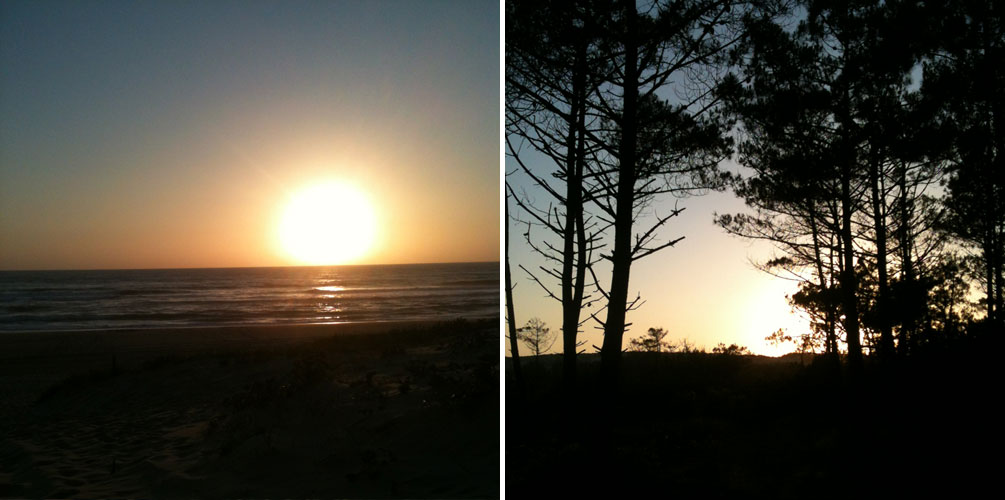 Coucher de soleil - Vacances dans les Landes : océan, pins & sable fin
