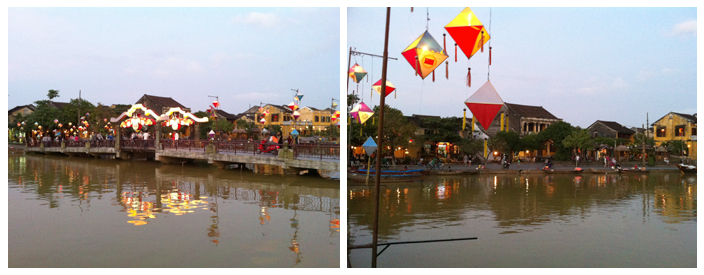 Hoi An à la tombée du jour, les lanternes s'illuminent
