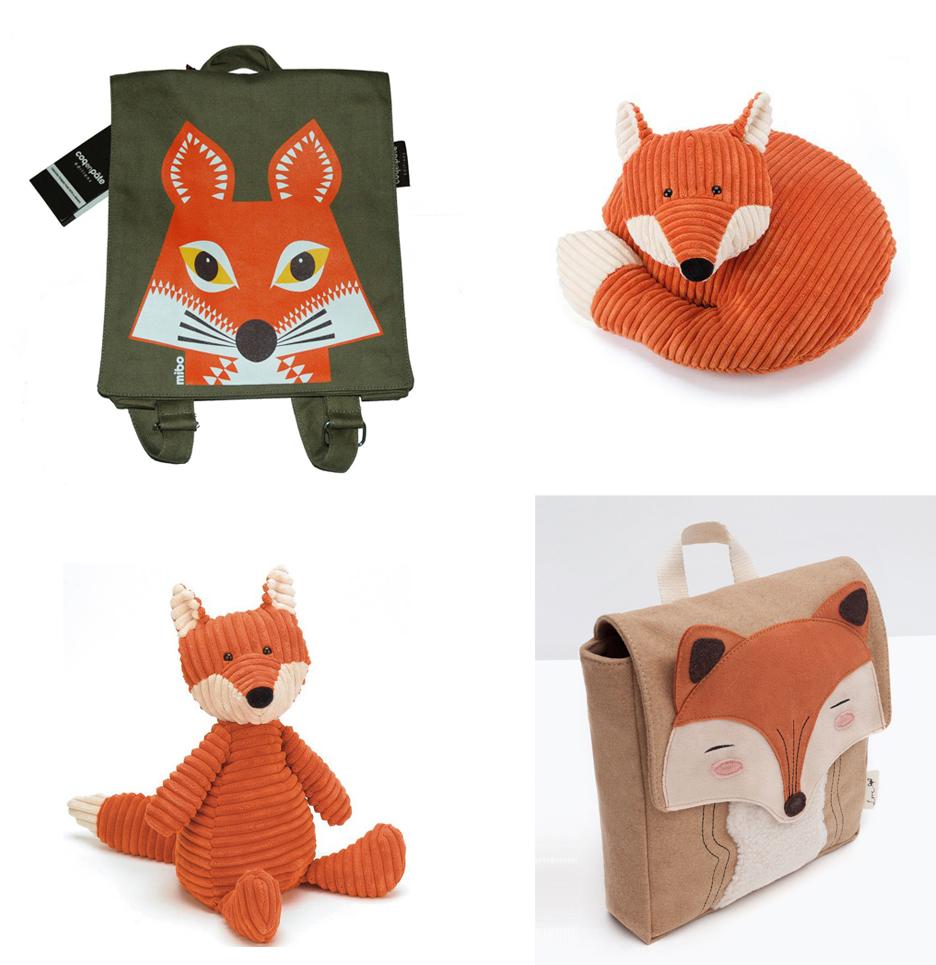 Tendance renard pour les petits : sacs et doudous