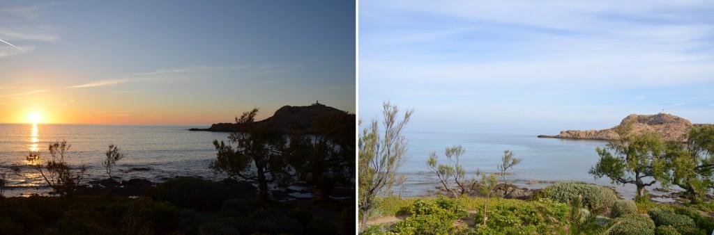 Coucher et lever de soleil sur l'Ile de la Pietra à l'Ile-Rousse