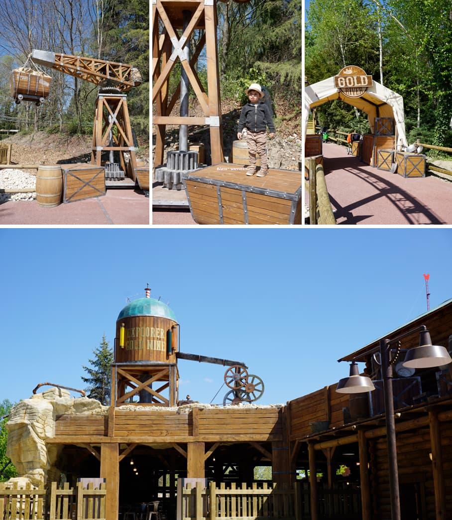 Parc Walibi-Rhône-Alpes : l'ambiance chercheur d'or dans la zone Explorer Adventure