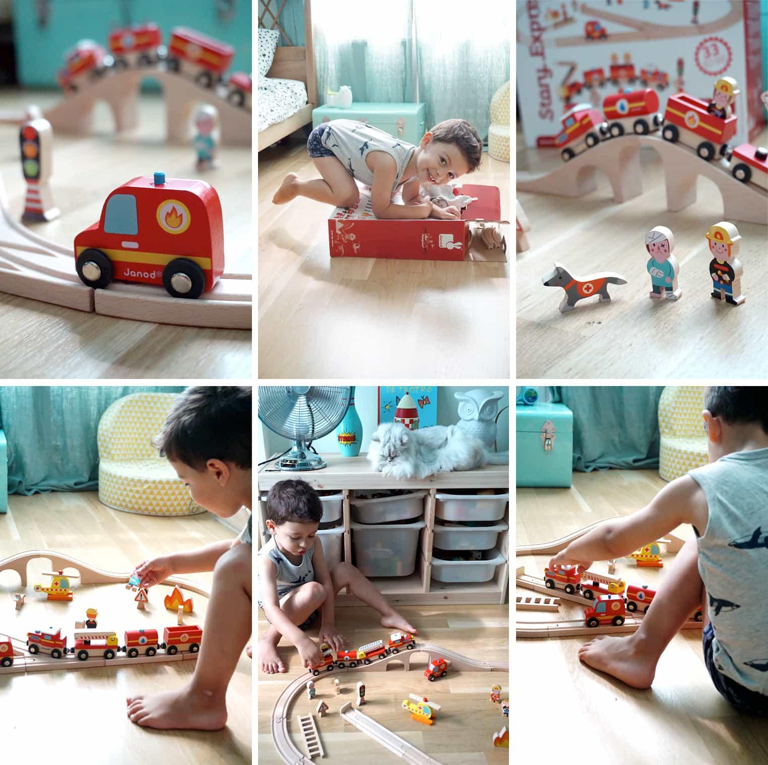 Noah et son circuit de train en bois