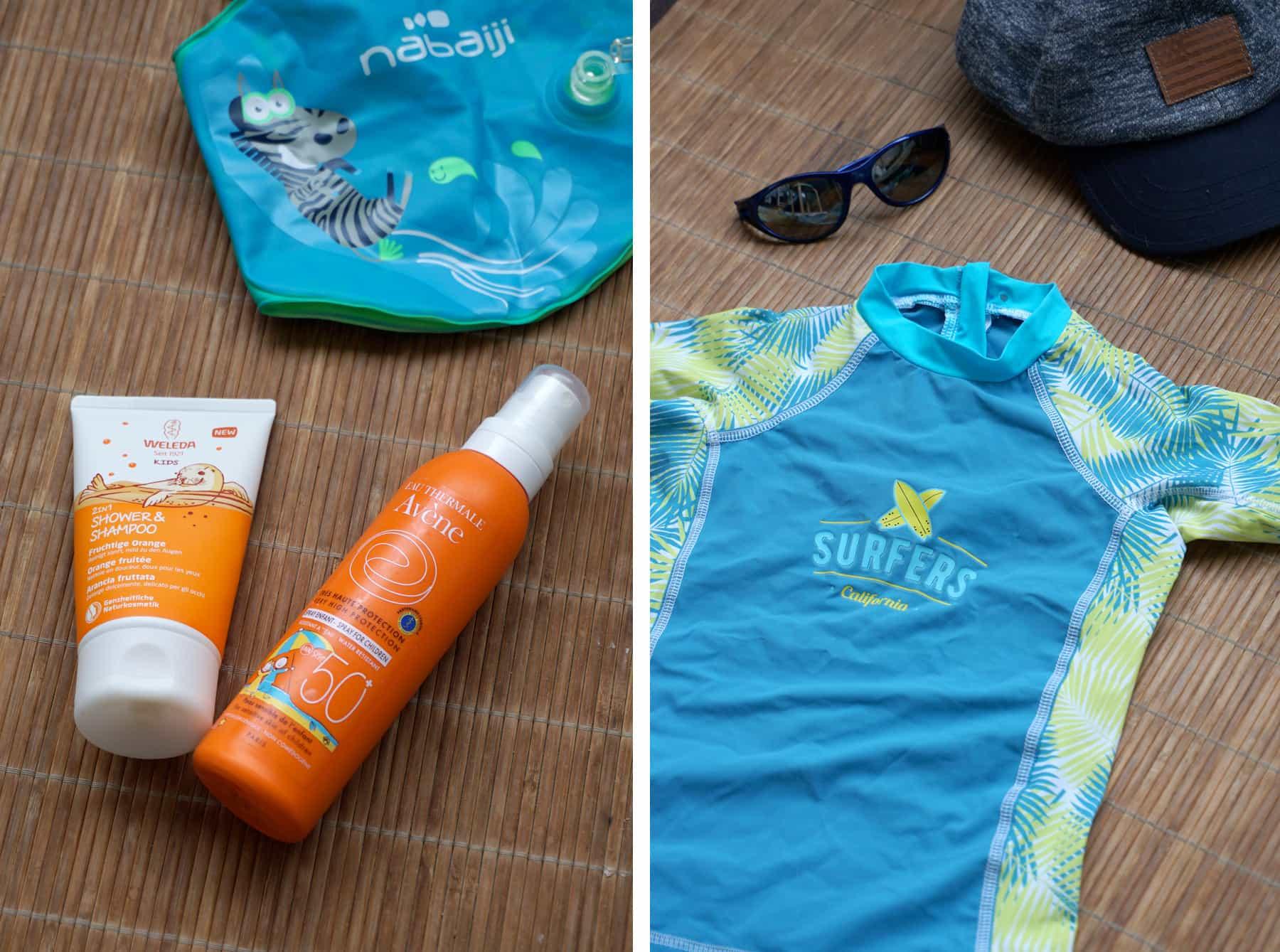 Protection solaire enfant : maillot anti UV et crème solaire