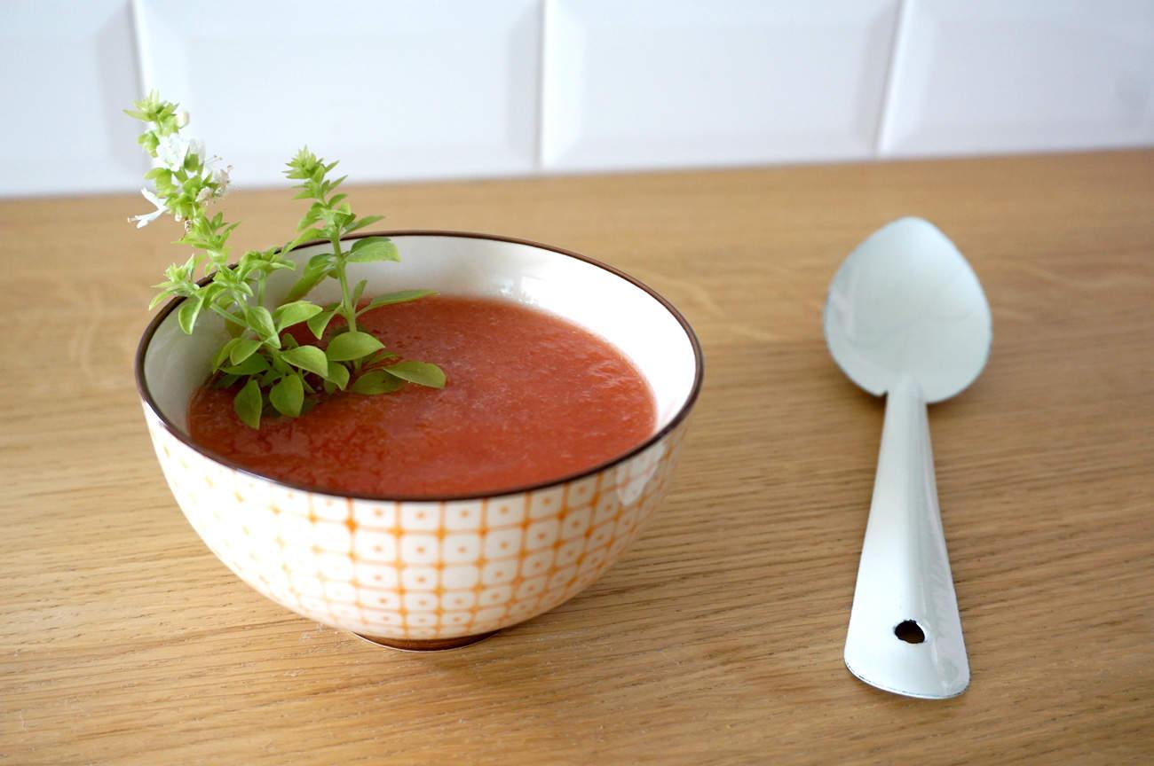 Gaspacho tomates melon basilic