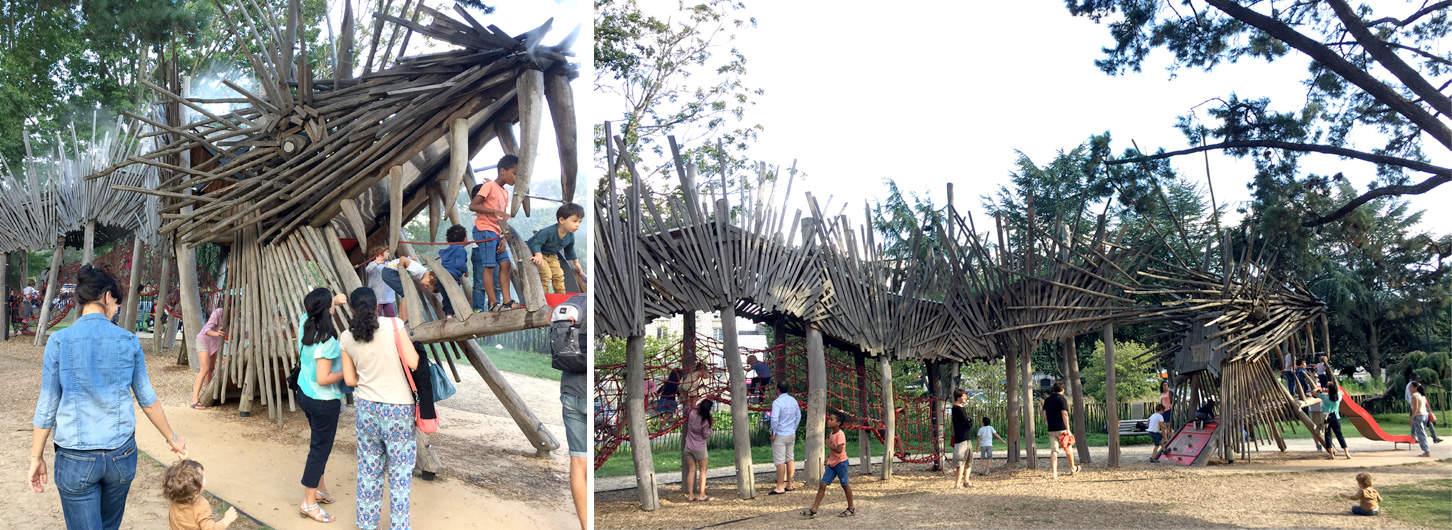 Le dragon en bois, aire de jeu au square Mercoeur à Nantes