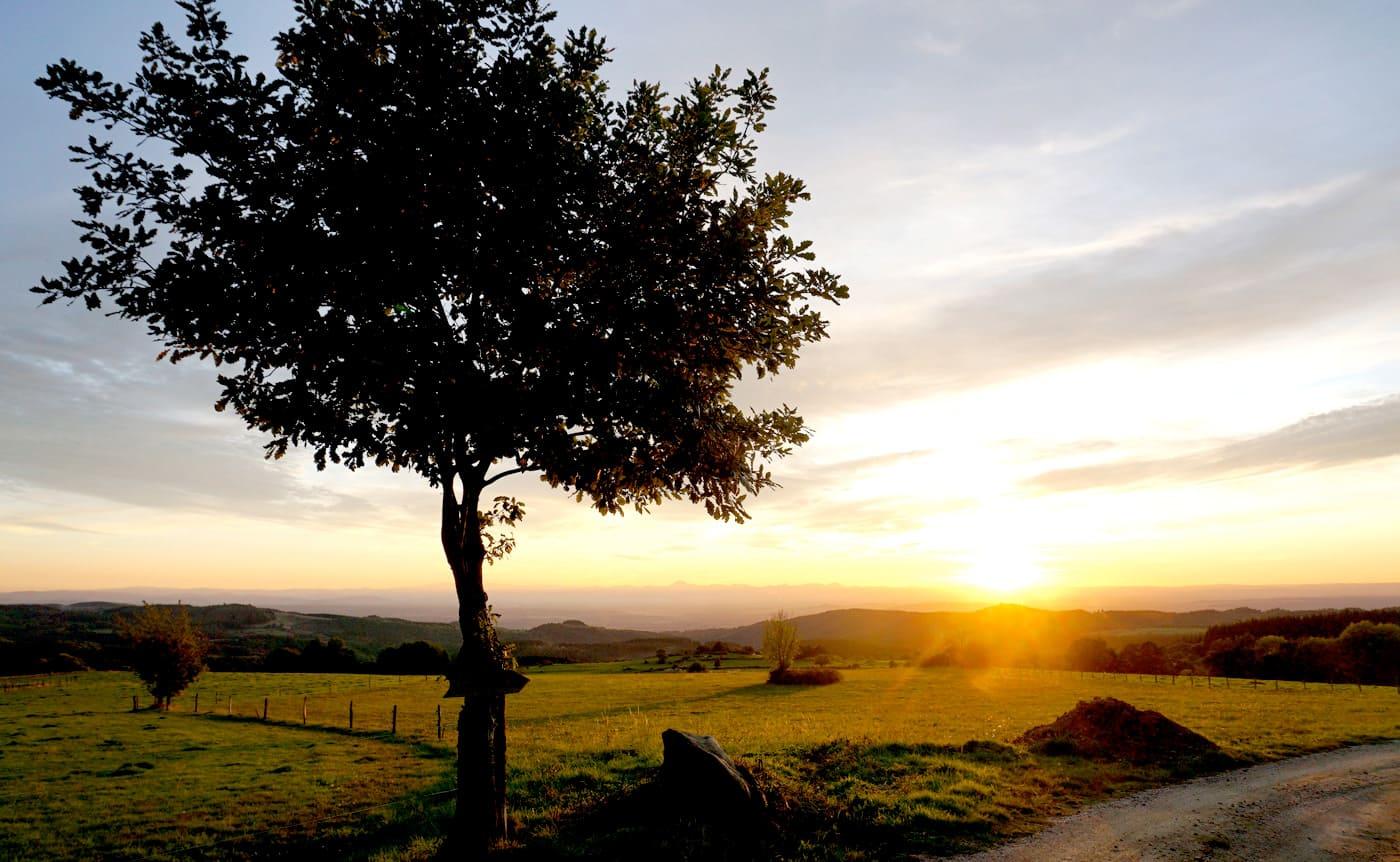 Coucher soleil automne campagne