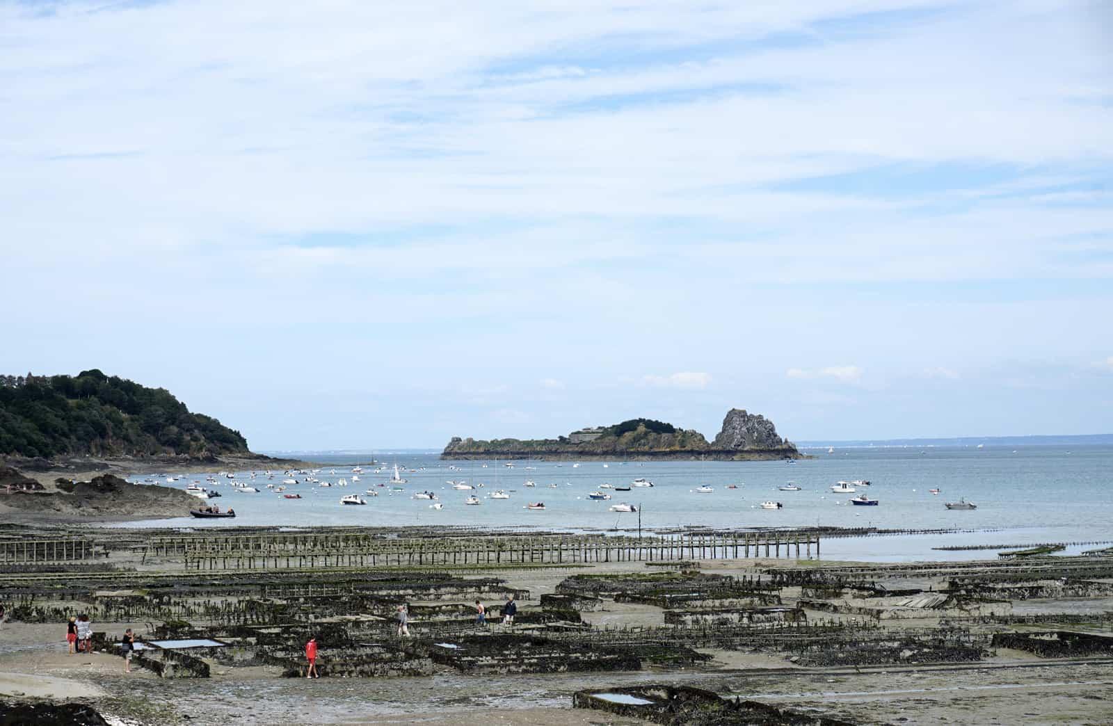 Le port de Cancale à marée basse et les parcs à huîtres