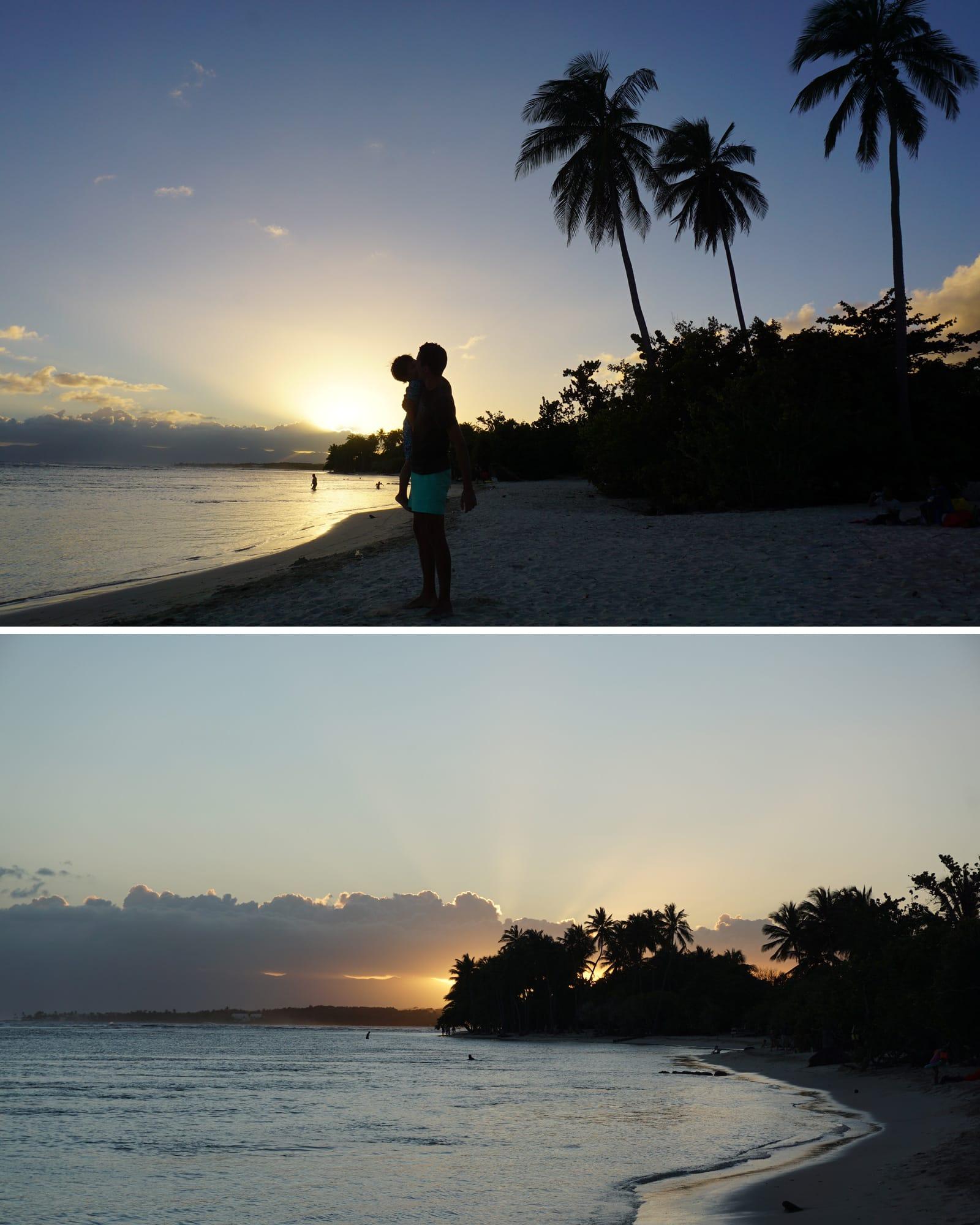 Voyage en famille en Guadeloupe - coucher de soleil sur la plage de bois Jolan