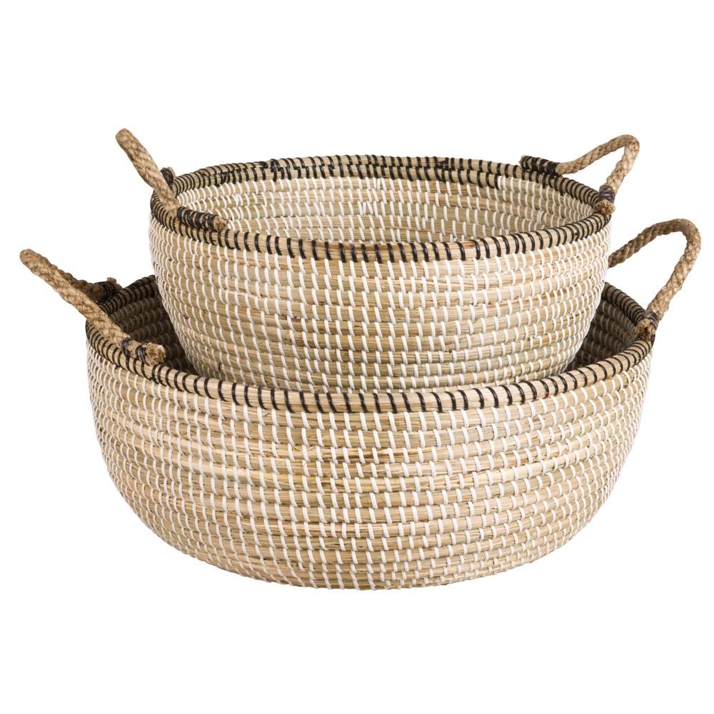 Paniers en fibre vegetale noire et blanche