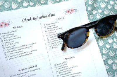 Organisation : La check-list de la valise d'été pour toute la famille [Printable]