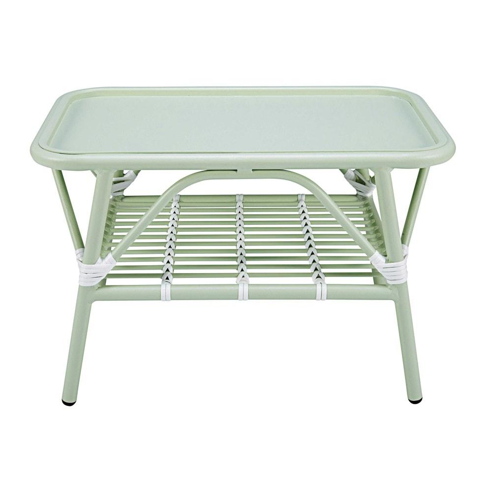 Table basse de jardin en aluminium vert clair et blanc