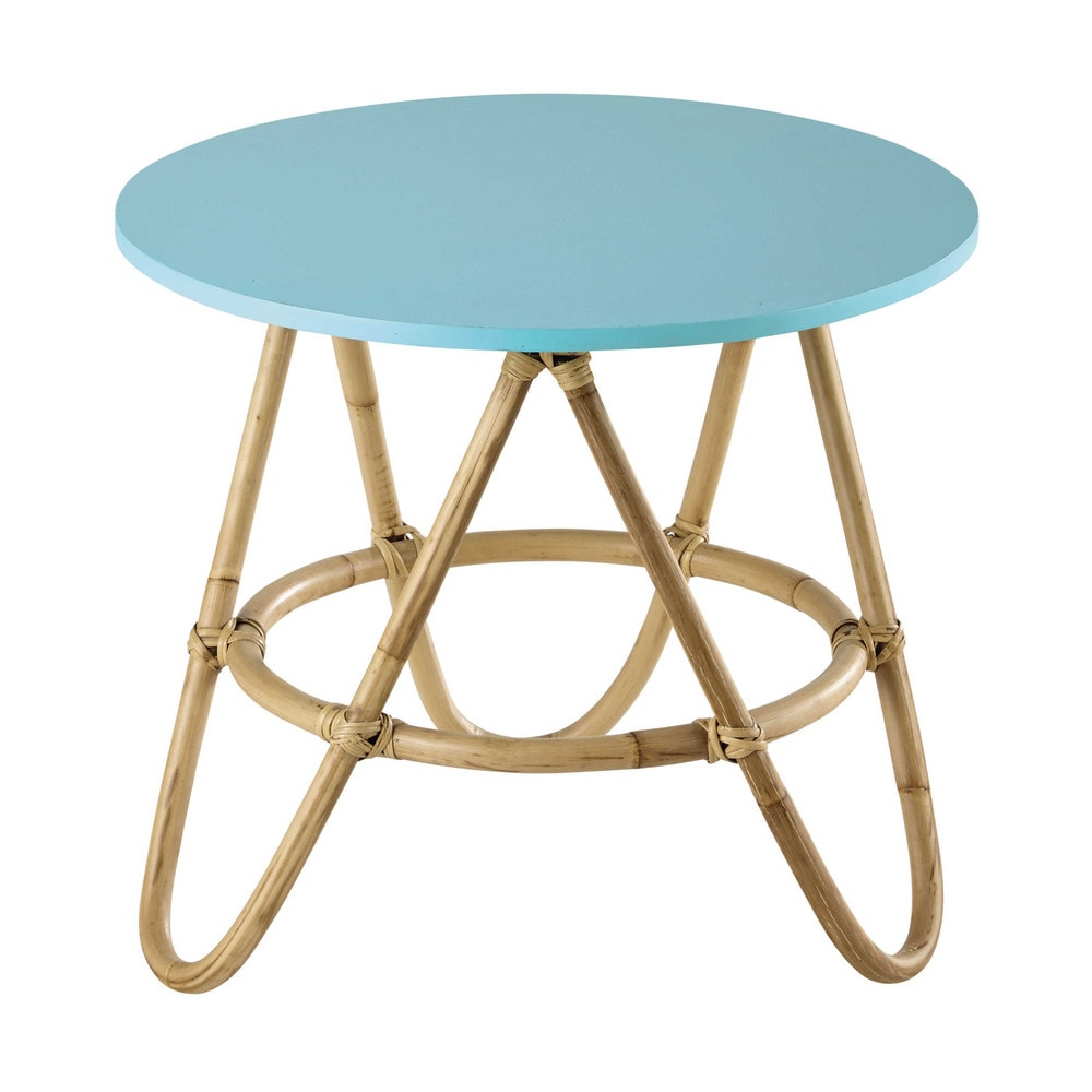 Table basse ronde en rotin bleu