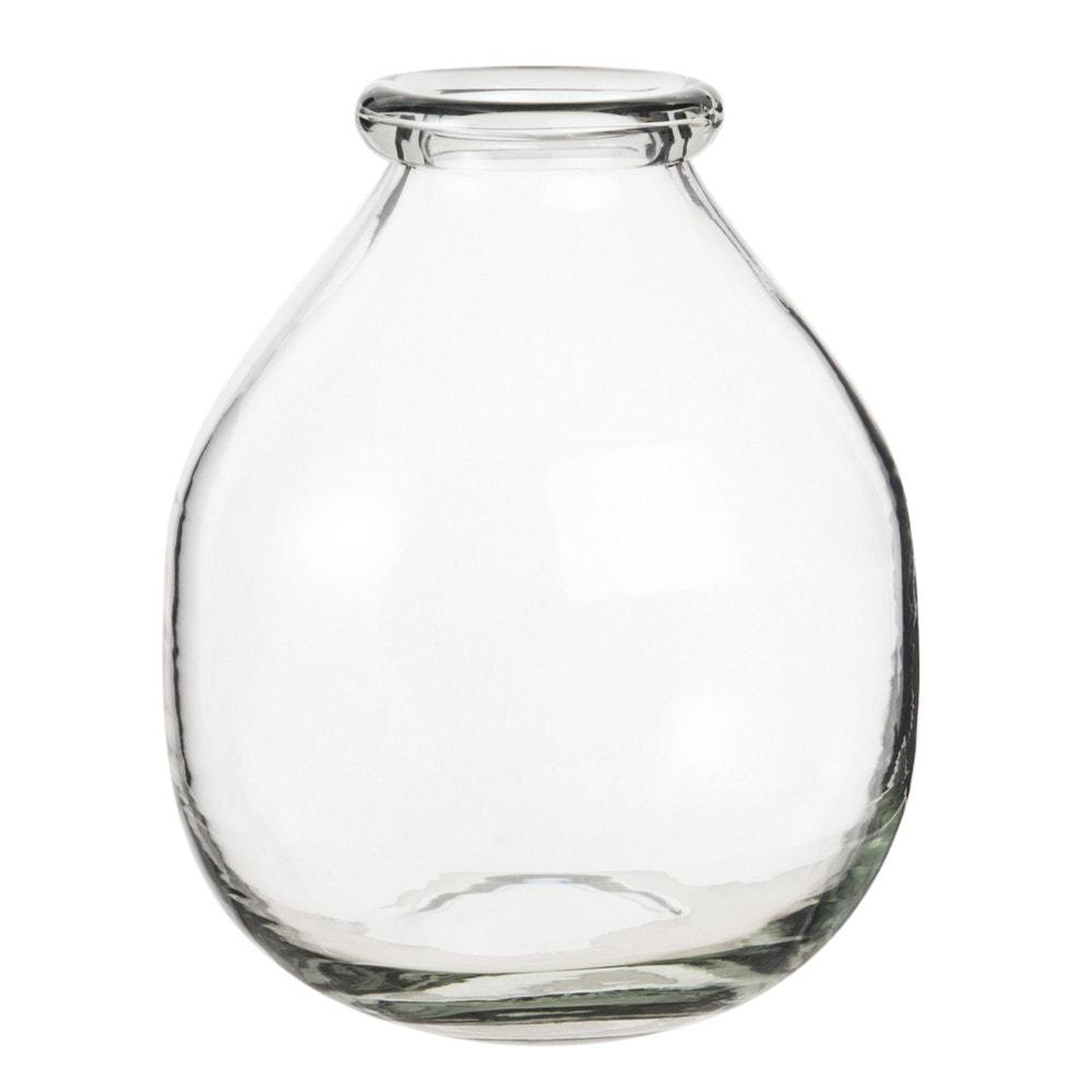 Vase boule en verre teinte vert