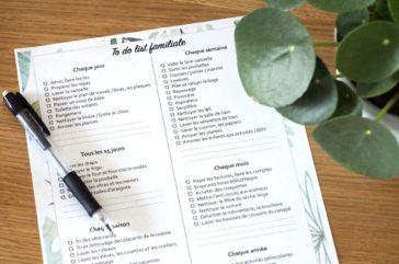 Planning des tâches de la famille - To do list familiale à imprimer
