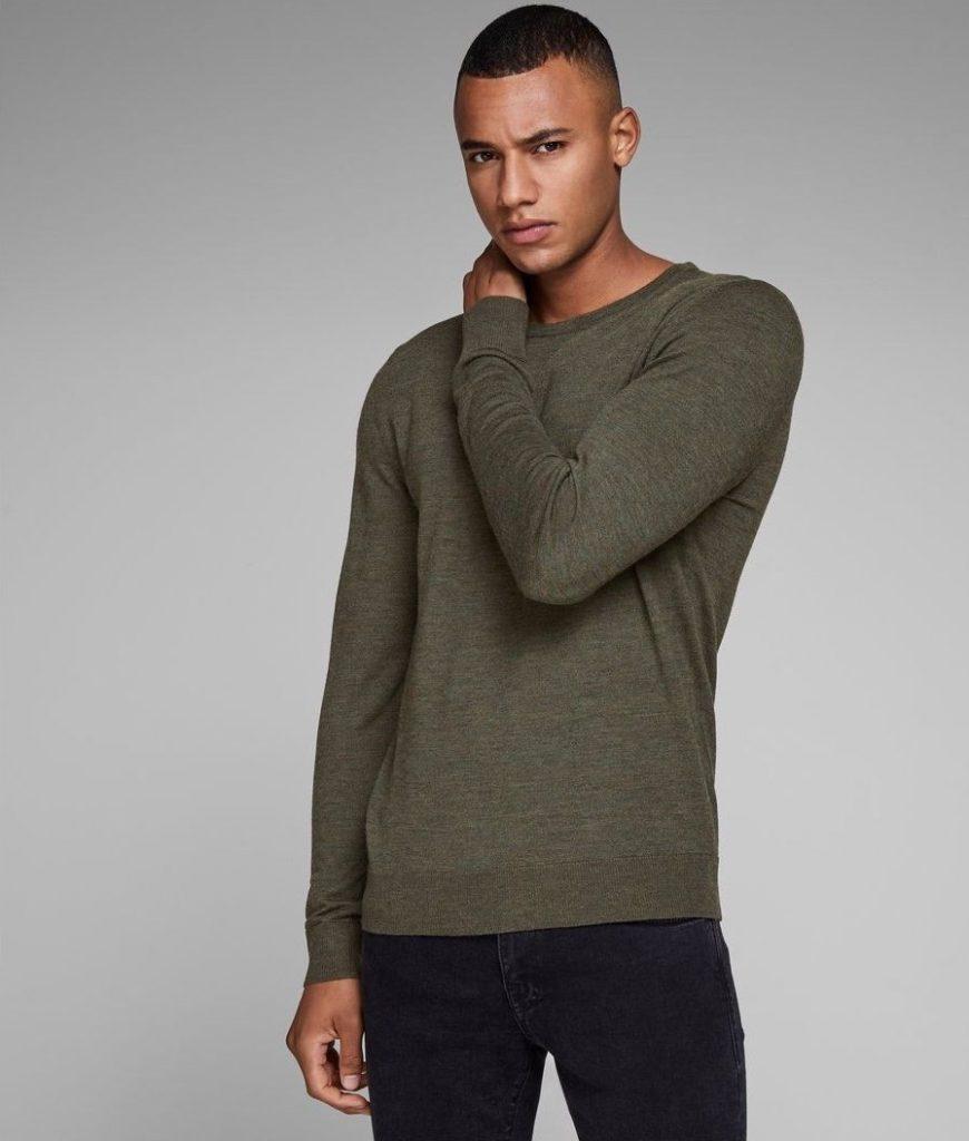 Pull col rond 100% laine mérinos - Idée cadeau pour homme - Cadeau anniversaire homme cadeau ou cadeau Noël homme