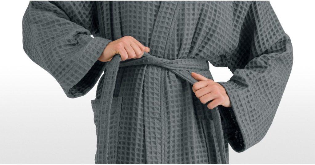 Peignoir en coton gaufré - Idée cadeau pour homme - Cadeau anniversaire homme cadeau ou cadeau Noël homme