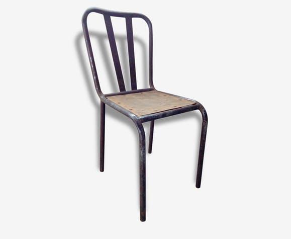 Chaise bistrot de style industriel metal et bois original
