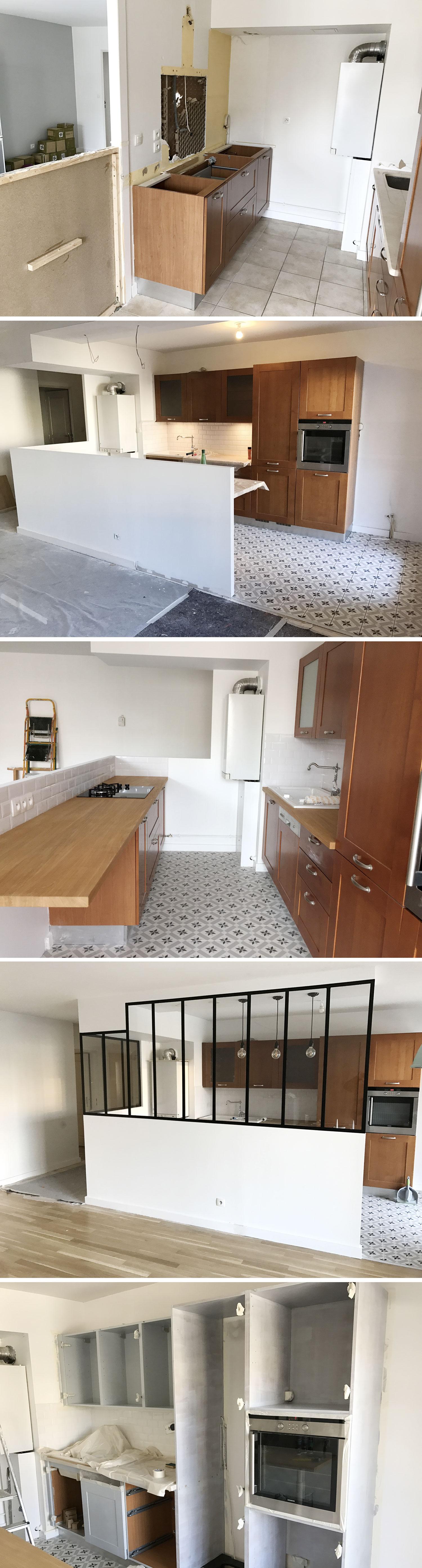 Relooking Cuisine Avant Après relooking cuisine avec verrière - décoration & rénovation