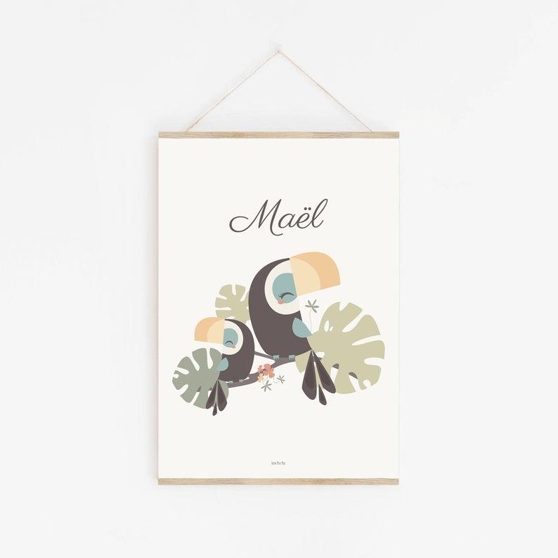 Affiche enfant toucan personnalisable