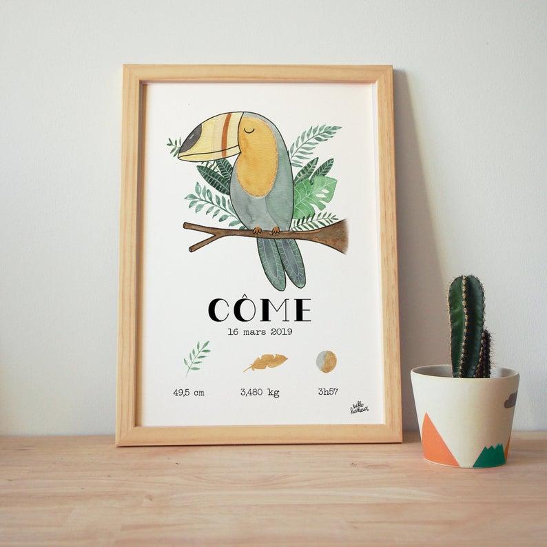 Affiche naissance aquarelle toucan