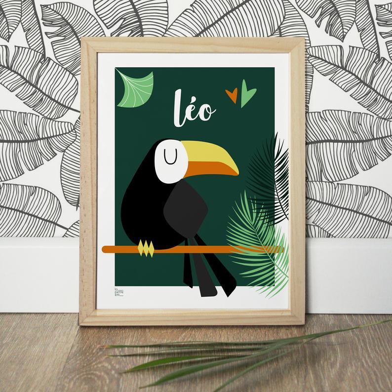 Affiche toucan personnalisable