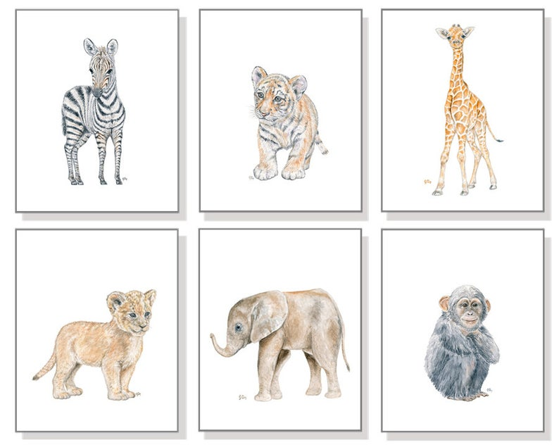 Affiches bebes animaux aquarelle