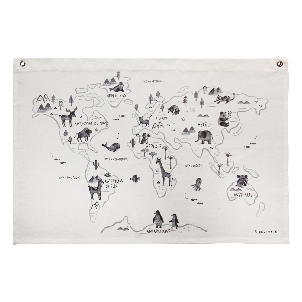 Carte du monde murale tissu