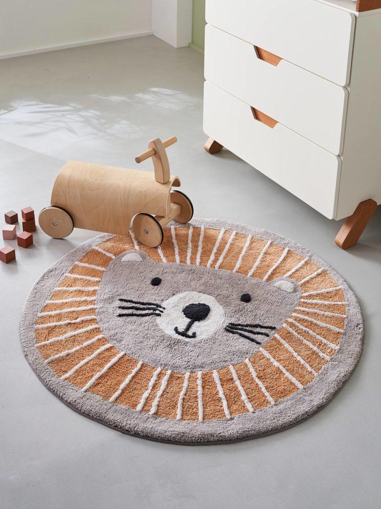 Tapis rond lavable lion vertbaudet
