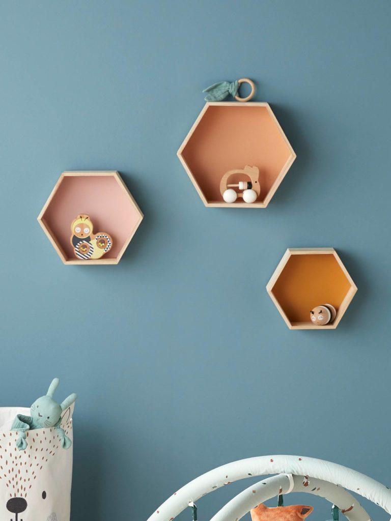Lot de etageres hexagones enfant