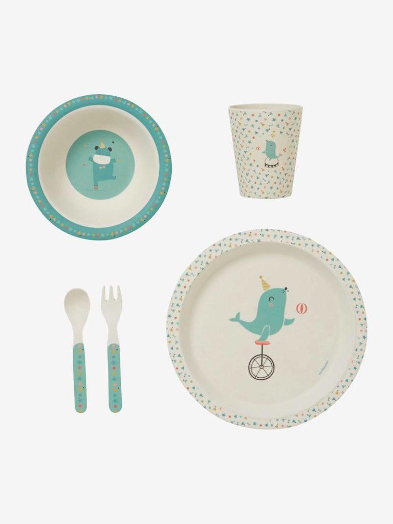 Set de vaisselle en bambou mini zoo