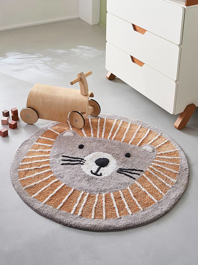 Tapis rond lavable lion