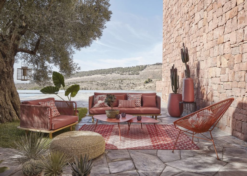 Canape de jardin en corde tressee terracotta