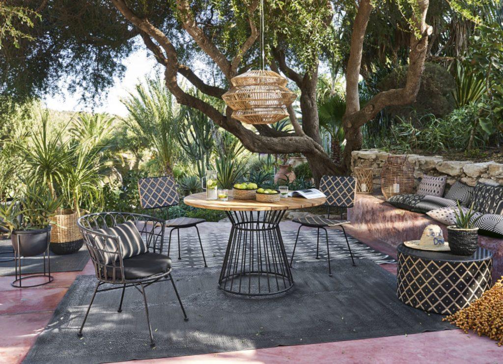 Table de jardin ronde en teck massif personnes