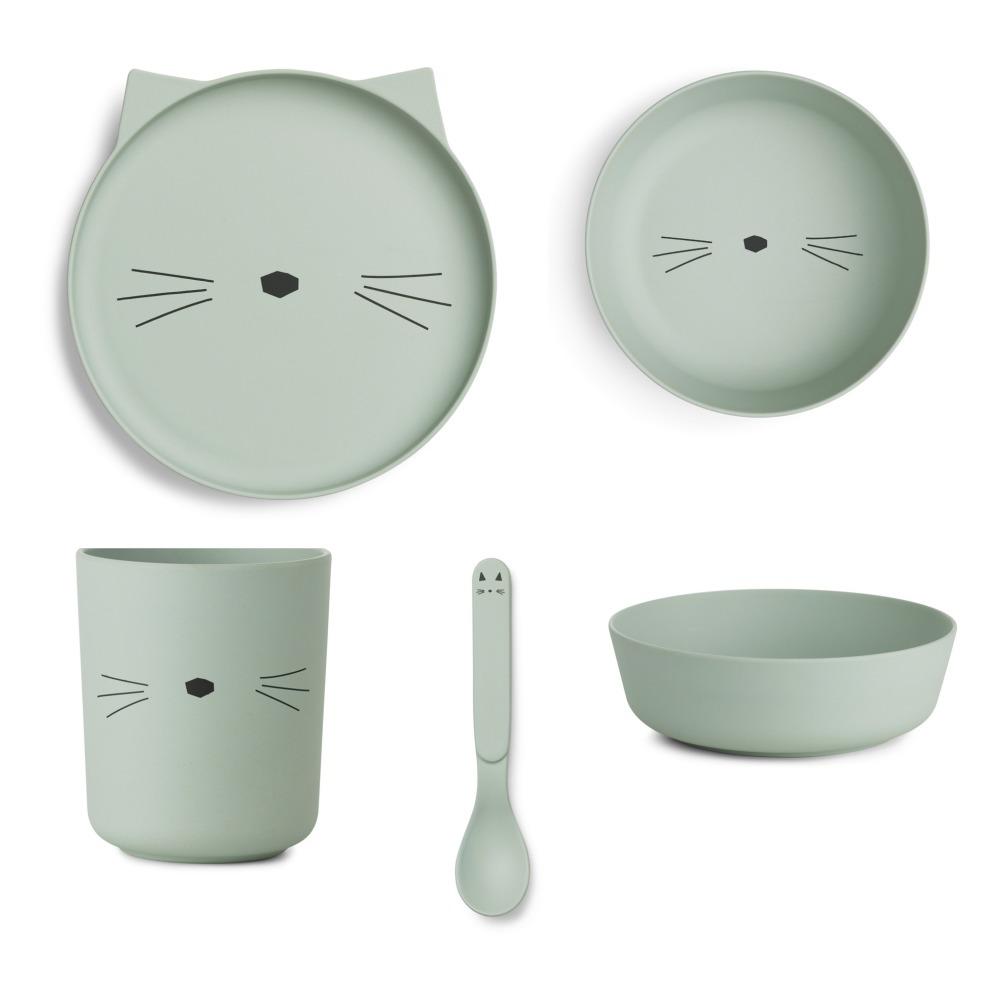 set vaisselle en bambou chat set de