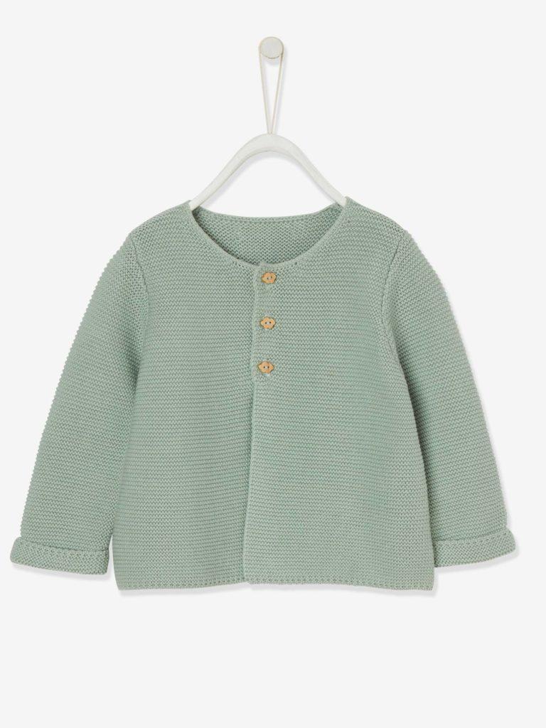 gilet bebe naissance en tricot point mousse