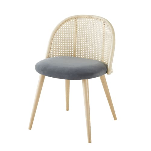 chaise vintage gris anthracite cannage en rotin et bouleau massif