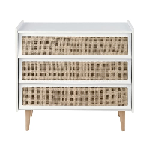 commode tiroirs blanche et cannage en rotin