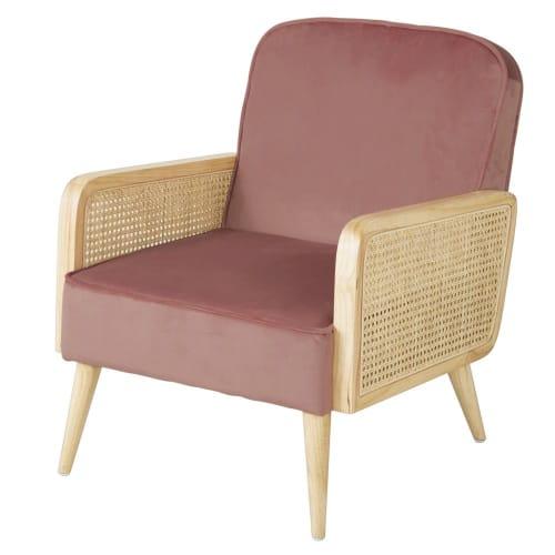 fauteuil en velours rose cannage en rotin