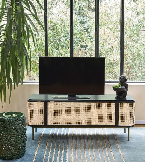 meuble tv portes cannage en rotin