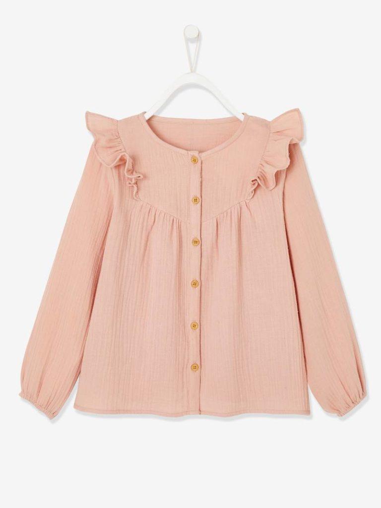 blouse volantee en gaze de coton fille