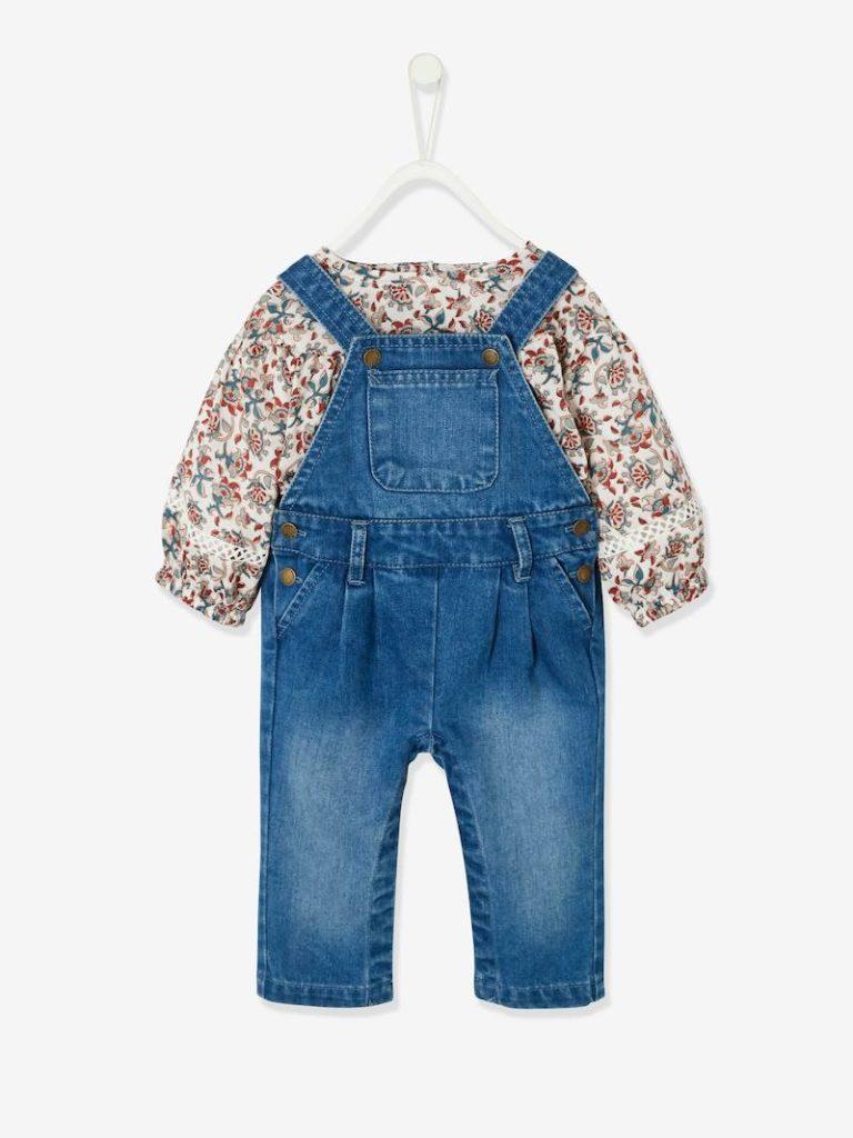 ensemble blouse et salopette en denim bebe