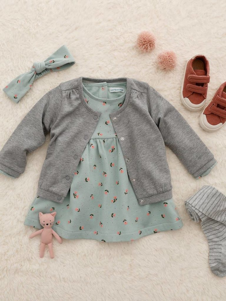 ensemble piece robe cardigan bandeau bebe fille