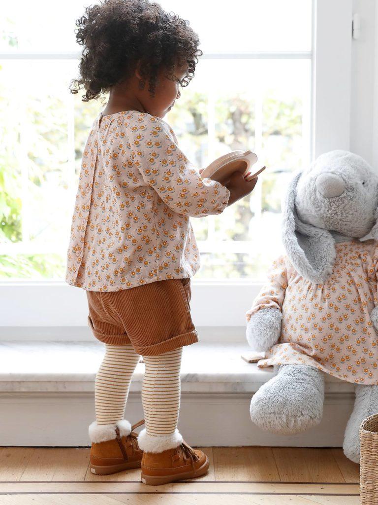 short en velours cotele bebe fille