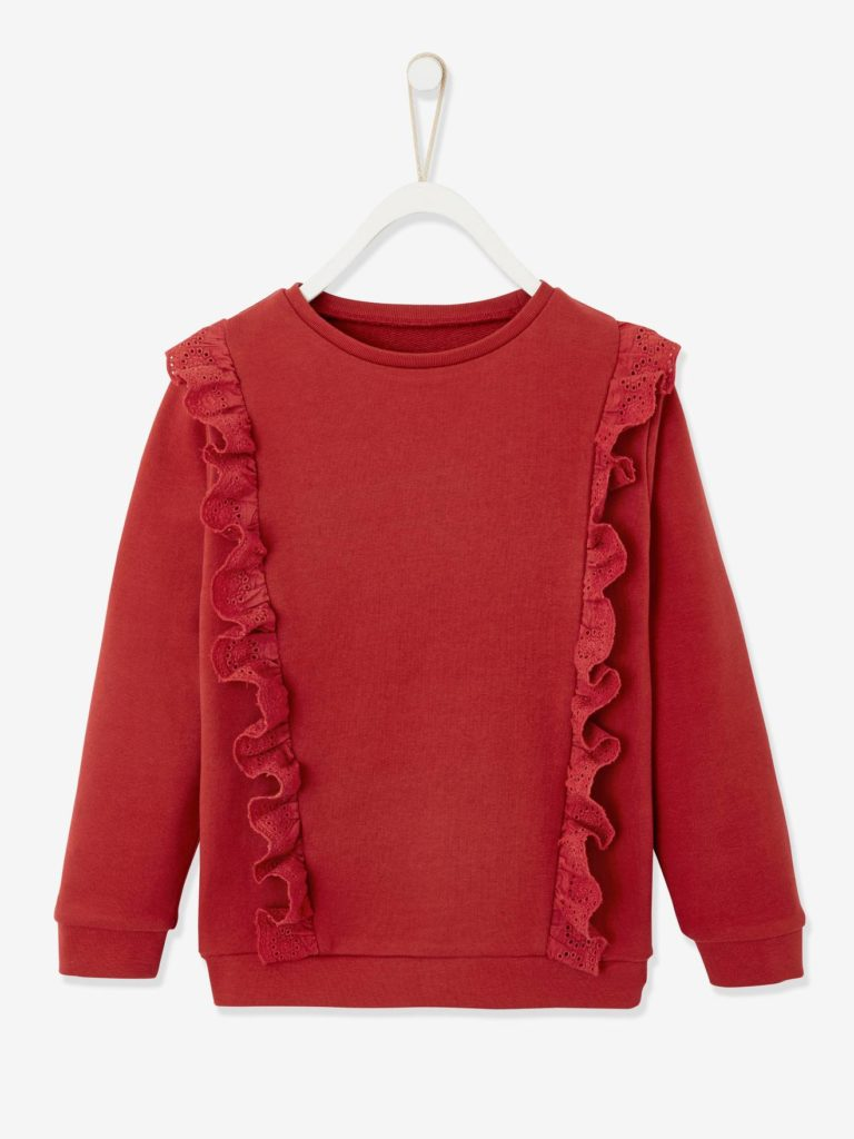 sweat fille a volants en broderie anglaise