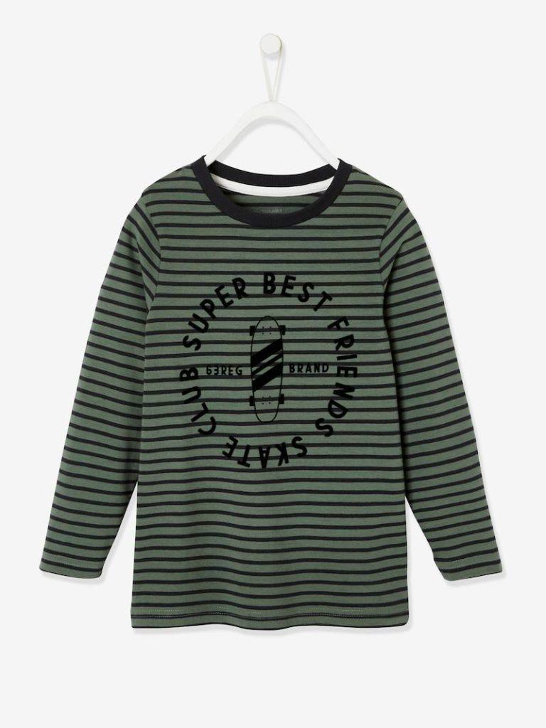 t shirt raye motif skate garcon manches longues