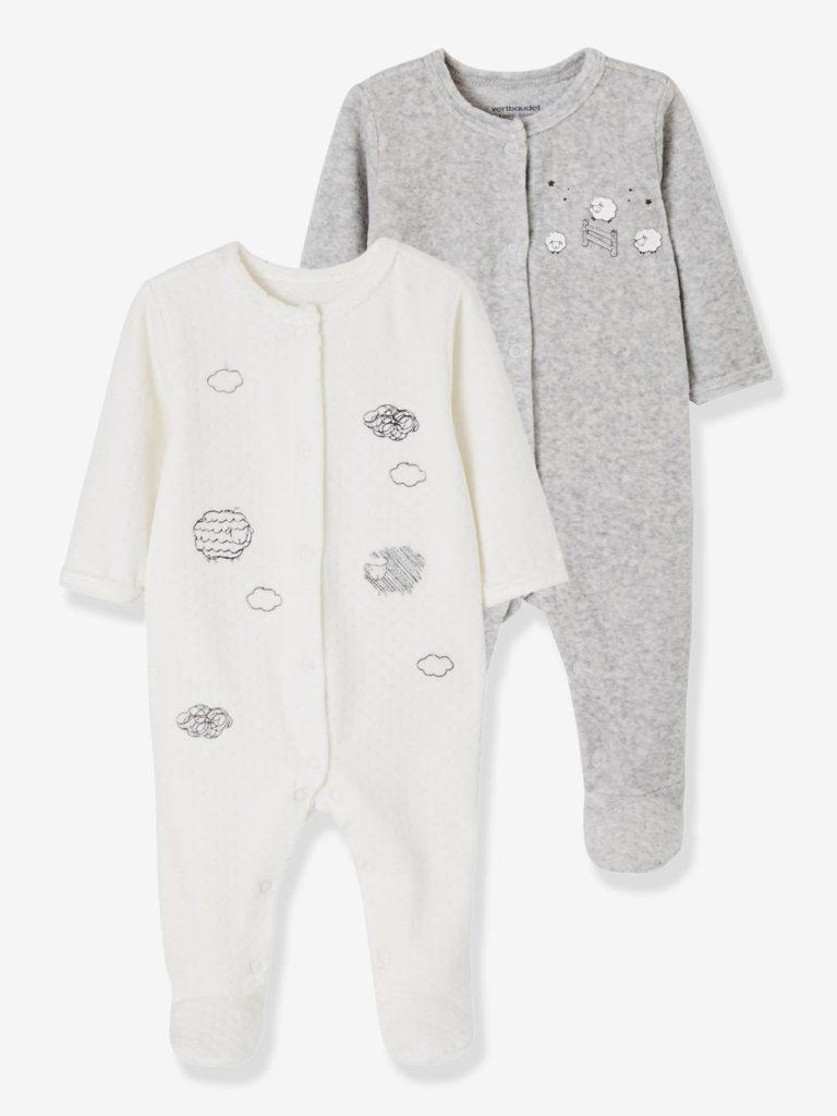 lot de pyjamas bebe en velours ouverture devant nuage